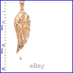 10k Rose Gold ANGEL WING Pendant Necklace Size (L) Large