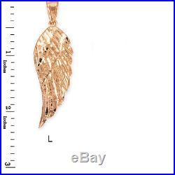 10k Rose Gold Diamond Cut Angel Wing Pendant Size L Large