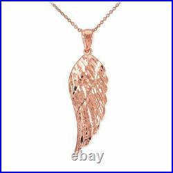 10k Solid Rose Gold Large Angel Wing Pendant Necklace