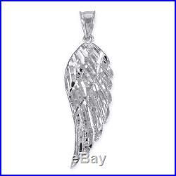 10k White Gold Diamond Cut Angel Wing Pendant Size L Large