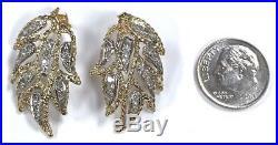 14 Karat Yellow Gold Large Statement Diamond Angel Wing Drop Stud Earrings E71