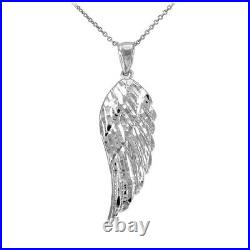 14k Solid White Gold Large Angel Wing Pendant Necklace