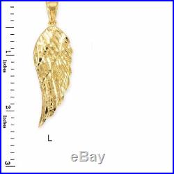 14k Yellow Gold ANGEL WING Pendant Necklace Size (L) Large