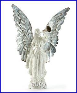 20.4 Glittering White Angel with Metal Horn and Large Silver Metal Wings