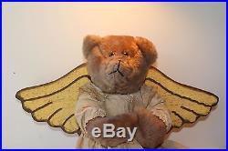 22 Large Chirstmas Angel Bear, primitive look wooden wings, golden dress artist