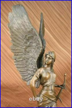 25 Inches Large Winged Victory Angel Leader Warrior Pure Bronze Copper Art Sculp