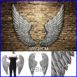 2X Large Antique Silver Angel Wing Chic Wall Mounted Hanging Art Home Decor