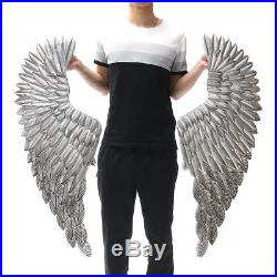 2X Large Antique Silver Angel Wing Chic Wall Mounted Hanging Art Home Decor 40'