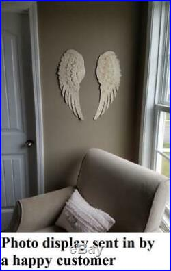 2-PC Large Textured Beige Angel Wings Wall Art High Quality Metal Sculpture 24L
