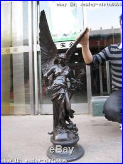 37 Large Winged Victory Angel Leader Warrior Pure Bronze Copper Art Sculpture