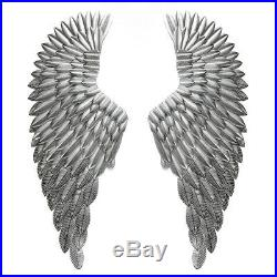 40'' Large Angel Wings Wall Mounted Hanging Antique Silver Iron Art Home