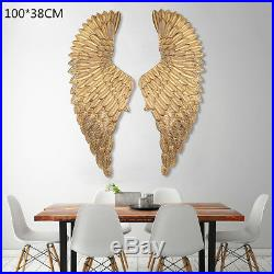 40'' Large Antique Angel Wings Gold Iron Wall Mounted Hanging Art Home Decor
