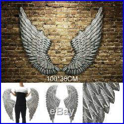 40'' Large Antique Silver Angel Wings Chic Wall Mounted Hanging Art Home