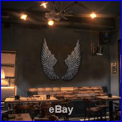 40'' Large Antique Silver Iron Angel Wings Wall Mounted Hanging Art Home Decor