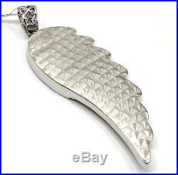 7.70ct Mens Ladies 14k White Real Solid Gold Angel Wing Diamond Large Pendant
