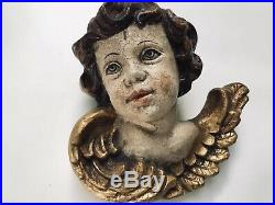 7 LARGE Antique Baroque Carved Wood Angel Cherub Putti Wing Gold Leaf Wall Hang