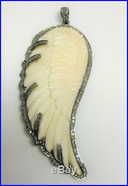 925 Sterling Silver Natural Diamond Large Carved Angel Wing Pendant