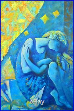 ANGEL, NEW WINGS by Maria KNYAZEVA, Original oil LARGE Painting RUSSIAN