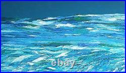 ANGEL WINGS AT SEA Original Seascape OIL Painting 24x48 Julia Garcia Large Art