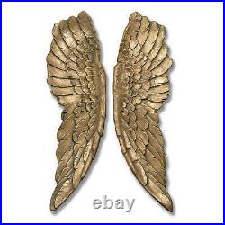 ANTIQUE GOLD LARGE ANGEL WINGS ORNAMENT H104 cm W30 D8CM STUNNING WALL PIECE