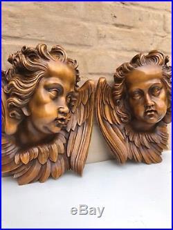AUTUMN SALE! Top Quality Large Walnut Winged Angels / Putti's/Cherubs circa 1900
