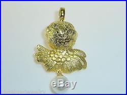 Alraune, Large Angel Head with Wings & SWZ Pearl, 925 Silver Gold Plated