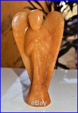 Amazing Large 155MM Orange Aventurine Stone Angel Aura Healing Power Wings