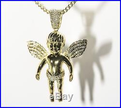 Angel Pave Wings Pendant Charm Large 3x2 18k Y Gold pl. 925 Silver Mens Heavy