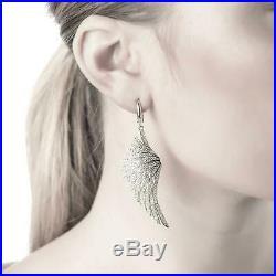 Angel Wings Large Drop Earrings 925 Sterling Silver White CZ Big Dangle Bridal