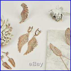 Angel Wings Large Drop Earrings Pink Rose Gold Sterling Silver White CZ Big