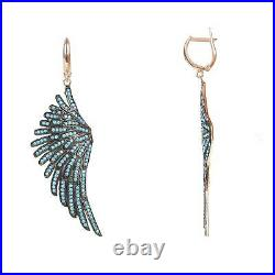 Angel Wings Large Drop Earrings Pink Rose Gold Turquoise Blue Sterling Silver C