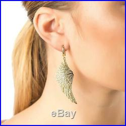 Angel Wings Large Drop Earrings Yellow Gold Sterling Silver CZ Big Dangle Bridal