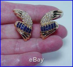 Angel Wings Sapphire Diamond Earrings 14K Gold Large Heavy