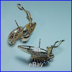 Angel Wings Sapphire Diamond Earrings 14K Gold Large Heavy Vintage Estate