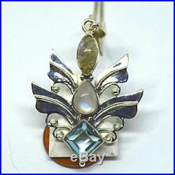 Angel Wings Silver Large Pendant Moonstone Blue Topaz Labradorite 925 Sterling