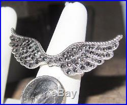Angel Wings covered in Marcasite Quite Large Ring ONE-OF-A-KIND Sterling sz8