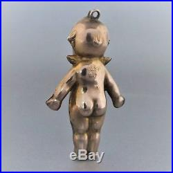 Antique Large 9ct Gold Kewpie Doll with Angel Wings Pendant