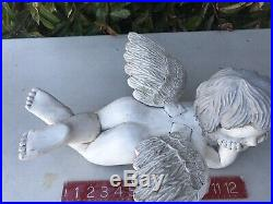Antique Vintage Large Carved Wood Angel Cherub Lying Down WithWings White Finish