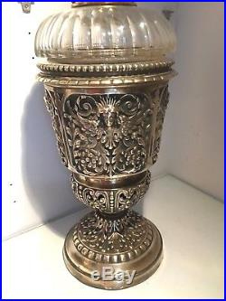 Antique large ecclesiastical brass oil lamp drop in fount angel wings