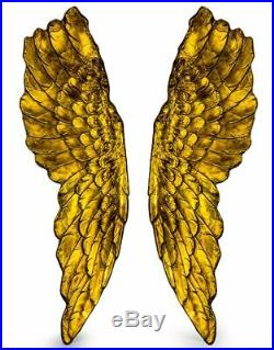Antiqued Gold Silver or White Extra Large Pairs of Angel Wings Next Day Delivery