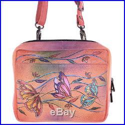 Anuschka Accordion Crossbody Travel Organizer Handbag Angel Wings Tangerine