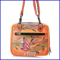 Anuschka Leather Large Zip Around Cross Body Messenger Angel Wings Tangerine NWT