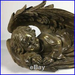 BEAUTIFUL Large Vintage Winged Angel Child Sleeping Statue Figure Christmas Gift
