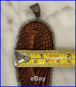 BNWOT Extra Large Pave Diamond Wooden Angel Wing Pendant