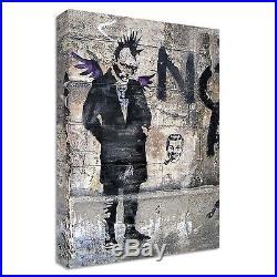 Banksy Punk Canvas LARGE wall ART street graffiti wall angel wings bricks