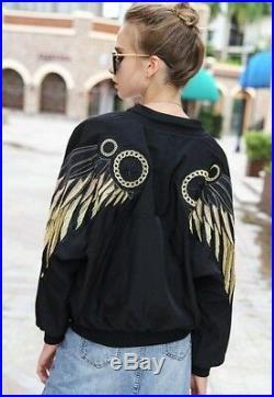 Basic Jackets Gold Wings Angel Embroidery Black Bomber Runway Streetwear Coat
