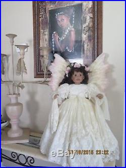 Beautiful Angel Doll-dressed In Lace Ivory-large Angel Wings-excellent Condition