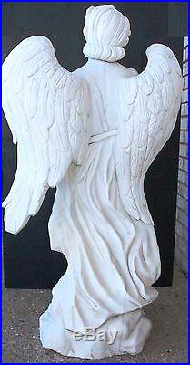 Beautiful Italian Carrara Solid Marble Hand Carved Large Winged Angel w Wreath