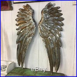 Beautiful Set Of Large 43 Galvanized Metal Angel Wings Rustic Wall Decor Pair