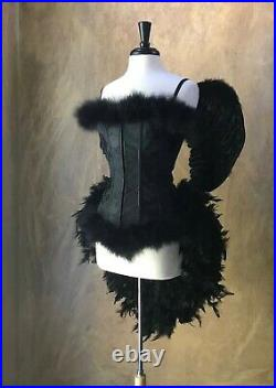 Black Dark Angel Gothic Burlesque Feather Costume withWings Crow Black Bird Raven